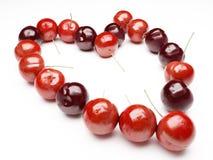 Corazón de la cereza roja Imágenes de archivo libres de regalías
