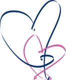Corazón de la cinta rosada y azul Fotografía de archivo libre de regalías