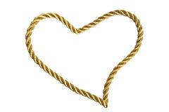 Corazón de la cuerda de rosca de oro Fotografía de archivo libre de regalías