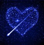 Corazón de la estrella en cielo nocturno Imagen de archivo libre de regalías