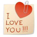Corazón de la etiqueta engomada y clip de papel Foto de archivo libre de regalías