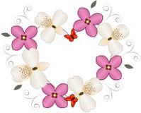 Corazón de la flor con la mariposa Fotos de archivo
