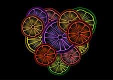 Corazón de la fruta cítrica Imagenes de archivo