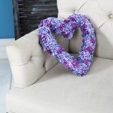 Corazón de la hortensia artificial Fotografía de archivo