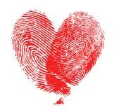 Corazón de la huella dactilar Imagen de archivo libre de regalías