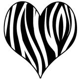 Corazón de la impresión de la cebra Imagen de archivo