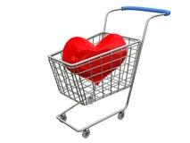 Corazón de la insignia en cesta del cromo Foto de archivo libre de regalías
