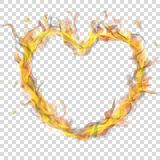 Corazón de la llama del fuego con humo ilustración del vector