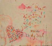 Corazón de la música de la acuarela Imagenes de archivo