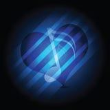 Corazón de la música que brilla intensamente Foto de archivo