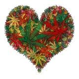 Corazón de la marijuana stock de ilustración