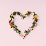 Corazón de la naturaleza Concepto del amor Endecha plana Fotografía de archivo