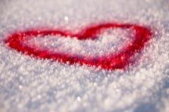 Corazón de la nieve Foto de archivo libre de regalías