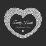 Corazón de la perla Marco del vector en forma del corazón Diseño blanco de las perlas Imagenes de archivo
