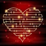Corazón de la placa de circuito Foto de archivo