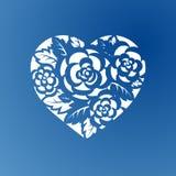 Corazón de la plantilla con las rosas para el corte del laser ilustración del vector
