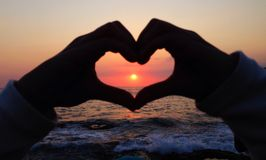 Corazón de la puesta del sol Fotografía de archivo libre de regalías