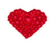 Corazón de la rosa del rojo para usted te amo Foto de archivo libre de regalías