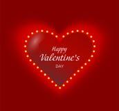 Corazón de la tarjeta del día de San Valentín con brillar intensamente del garaland de las bombillas Imágenes de archivo libres de regalías