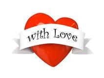 Corazón de la tarjeta del día de San Valentín con la escritura de la etiqueta con amor aislada en el backgroun blanco Foto de archivo