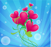 Corazón de la tarjeta del día de San Valentín, con las flores azules. ilustración del vector