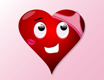 Corazón de la tarjeta del día de San Valentín de la historieta Foto de archivo libre de regalías