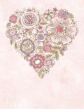 Corazón de la tarjeta del día de San Valentín de las flores del resorte Fotos de archivo