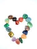 Corazón de la tarjeta del día de San Valentín de las piedras preciosas Foto de archivo