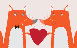 Corazón de la tarjeta del día de San Valentín del Fox Imagen de archivo libre de regalías
