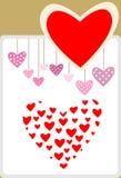 Corazón de la tarjeta del día de San Valentín en diverso estilo Foto de archivo