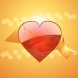 Corazón de la tarjeta del día de San Valentín en el fondo de cristal de la pirámide 3D Imagen de archivo
