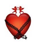Corazón de la tarjeta del día de San Valentín en encadenamientos Imagen de archivo libre de regalías