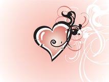 Corazón de la tarjeta del día de San Valentín floral Imagen de archivo libre de regalías