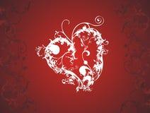 Corazón de la tarjeta del día de San Valentín floral Fotos de archivo