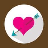 Corazón de la tarjeta del día de San Valentín, icono plano con la sombra larga, vector Foto de archivo libre de regalías