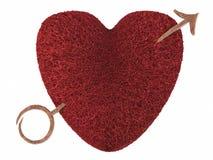 Corazón de la tarjeta del día de San Valentín perforado por una flecha Imágenes de archivo libres de regalías