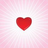 Corazón de la tarjeta del día de San Valentín que brilla Fotos de archivo libres de regalías