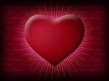 Corazón de la tarjeta del día de San Valentín que brilla con vida Foto de archivo libre de regalías