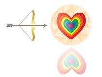 Corazón de la tarjeta del día de San Valentín y vector de la flecha Imagen de archivo libre de regalías