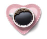 Corazón de la taza de café del amor Imagen de archivo libre de regalías