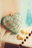 Corazón de la vendimia de la Navidad imagen de archivo