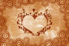 Corazón de la vendimia de la tarjeta del día de San Valentín Imágenes de archivo libres de regalías