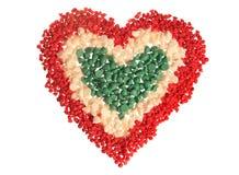 Corazón de la viruta del caramelo, tricolor (aislado) Foto de archivo