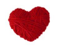 Corazón de lana rojo Fotografía de archivo