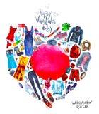 Corazón de las cosas pintadas en acuarela Foto de archivo