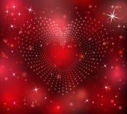 Corazón de las estrellas en un fondo rojo Imagen de archivo libre de regalías