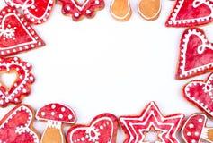 Corazón de las galletas del pan de jengibre Imagenes de archivo