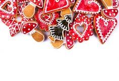 Corazón de las galletas del pan de jengibre Fotografía de archivo libre de regalías