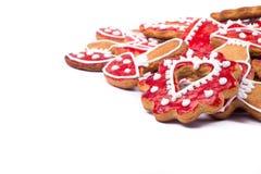 Corazón de las galletas del pan de jengibre Foto de archivo libre de regalías