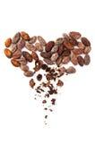 Corazón de las habas del cacao Fotos de archivo libres de regalías